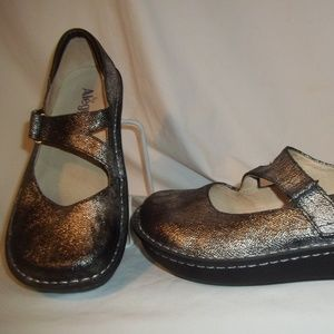 ALEGRIA  Onyx Metallic Leather Mary Jane Shoes 40